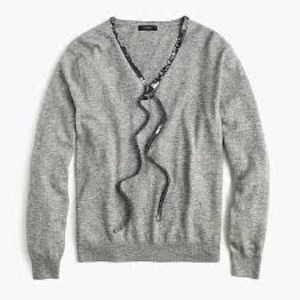 J. Crew Grey Wool Sweater with Sequin Detail